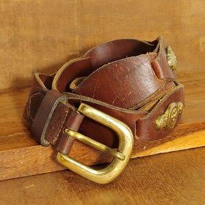 Vintage Leather Western Style Belt Sz Med